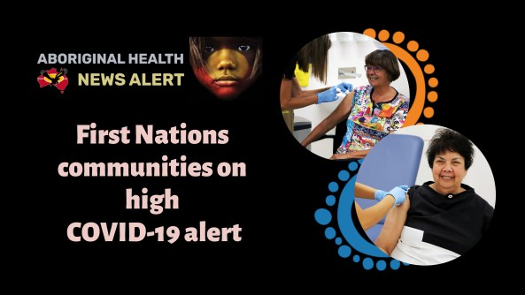 feature tile test 'First Nations communities on high COVID-19 alert' circle images or Pat Turner & Dawn Casey having covid-19 vaccine, Pat with orange Aboriginal art dot on one edge of circle & Dawn with blue dots