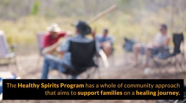 screenshot from BDAC Healthy Spirits video, blurred image of men in bush sitting around a fire, text 'The Healthy Spirit's Program has a whole of community approach that aims to support families on a healing journey.'