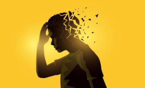 vector image yellow background, Aboriginal male side view hand to face, back of head shattering