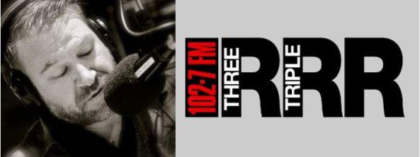 black & white photo of 3RRR radio presenter Kent Goldsworthy in studio & 3RRR logo 102.7 FM THREE R TRIPLE R R in red, black, white