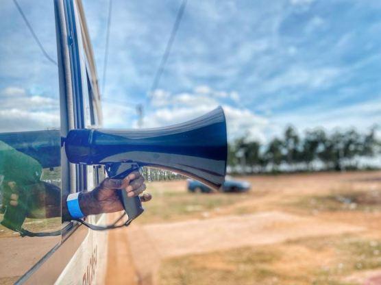 megaphone from bus Maningrida