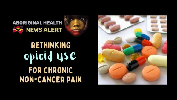 feature tile text 'rethinking opioid use for chronic non-cancer pain' & photo of multiple different coloured pills