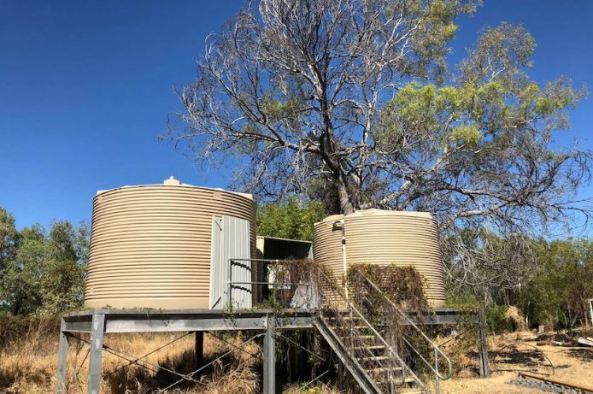 two water tanks on a platform, overgrown in bush setting
