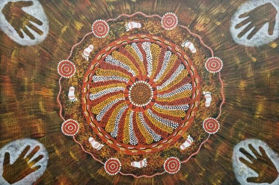 Aboriginal dot painting by Linda Huddleston (Nungingi) - on AIHW Indigenous Mental Health & Suicide Prevention Clearinghouse, circle with wedges mustard, light brown, white, black, surrounded by white footprints & border with spaced circles made up of 3 concentric circles
