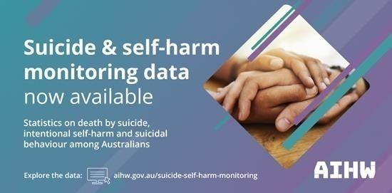 banner text 'suicide & self-harm monitoring data now available - statistics on death by suicide, intentional self-harm and suicidal behaviour among Australian AIHW' purple aqua, image of hands cupping other hands