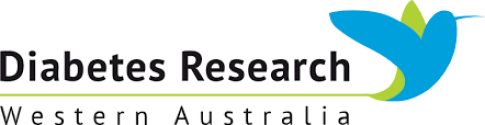 banner text 'Diabetes Research WA' - blue vector bird with long green tail between words Diabetes Research & WA