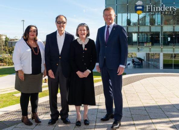 Associate Professor Simone Tur, George Wong, Mary Calthorpe, Pro-Vice-Chancellor (Indigenous) at Flinders University