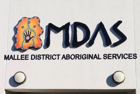 front of MDAS Mallee District Aboriginal Service building & MDAS logo