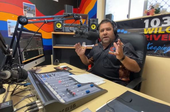 Brendon Adams in Wilcannia River Radio studio