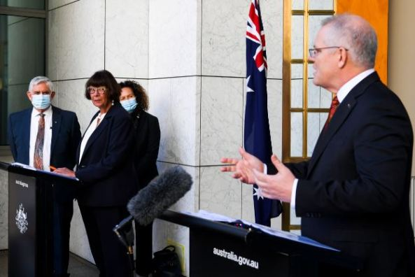 Prime Minister Scott Morrison and Coalition of Peaks head Pat Turner at a press conference in Parliament House
