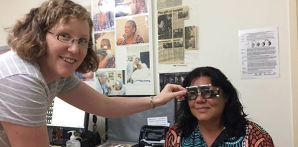 Reanna Bathern having an eye test