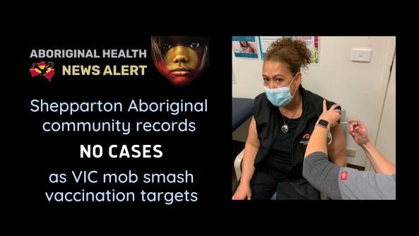 Rumbalara Aboriginal Co-Operative CEO Felicia Dean receiving her COVID-19 vaccine at the Rumbalara Medical Clinic.