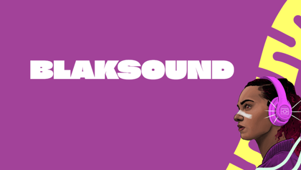 tile purple background, text 'BLAKSOUND' & vector image of Aboriginal person's head with purple headphones in right bottom corner of the tile