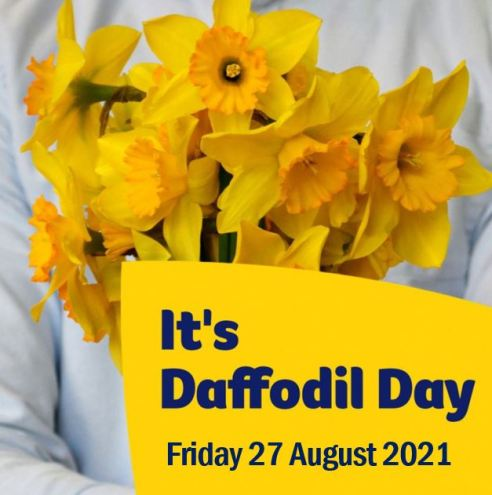 torso of person in white coat holding bunch of daffodils, yellow pop out with text 'It's Daffodil Day - Friday 27 August 2021'