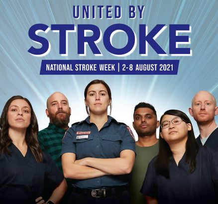 tile text 'United by Stroke - National Stroke Week 2-8 August 2021' 6 people standing facing front, middle woman ambo