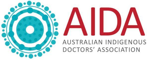 banner text 'AIDA Australian Indigenous Doctors' Association' & aqua concentric circles Aboriginal dot painting