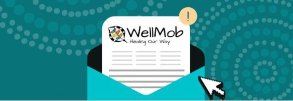 vector open envelope with piece of paper coming out text 'WellMob Healing Our Way' & WellMob logo; background teal with Aboriginal dot painting circles