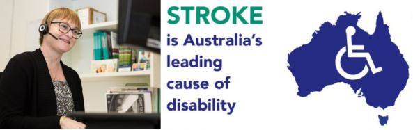 StrokeLine counsellor, text 'STROKE is Australia's leading cause of disability' map of Australia with wheelchair vector symbol