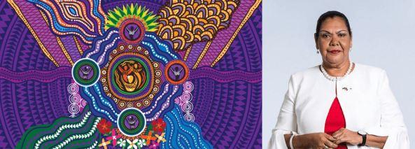 Aboriginal artwork & portrait of June Oscar