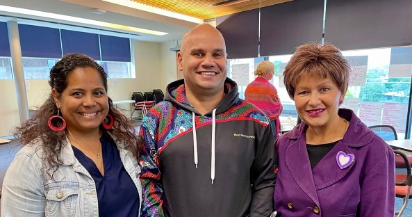 Deanne Minnicon and Maurice Woodley from the West Moreton Hospital and Health Service, and Professor Bronwyn Fredericks. Image source: Croakey Health Media.