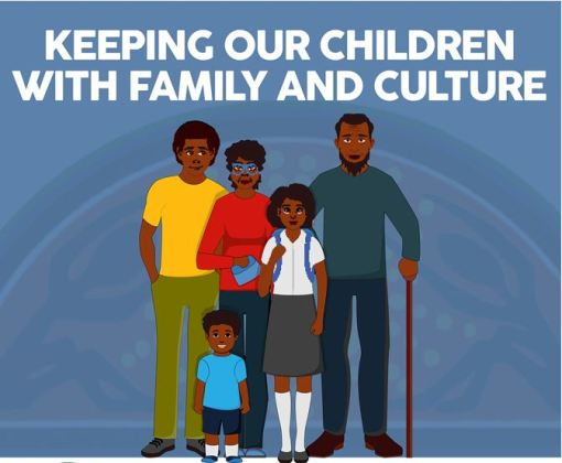 tile text 'keeping out children with family & culture' vector image of Aboriginal family