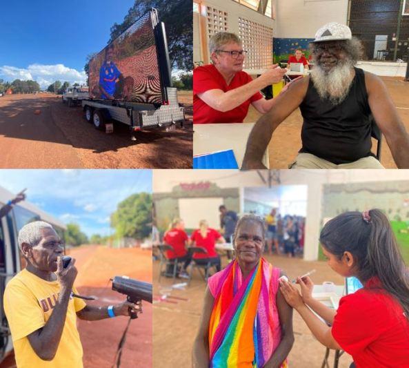 billboard on truck, Elder with loudspeaker, male & female Elders getting vax