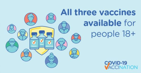 DoH banner text 'All 3 vaccines available for people over 18'