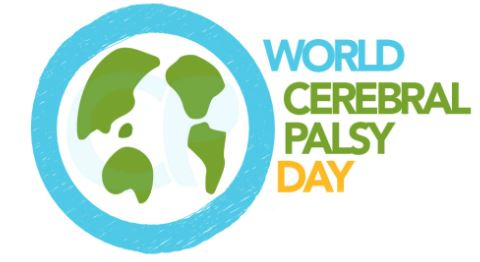 banner text 'World CP Day October 6' green, blue, yellow, vector map of world