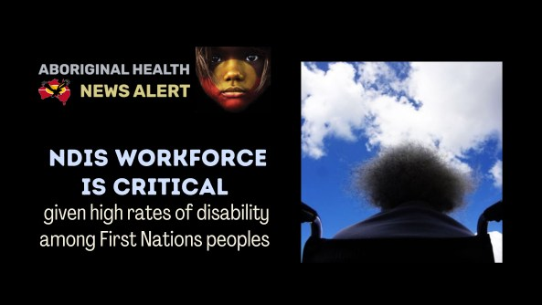 feature tile text 'NDIS workforce critical given high rates of disability among First Nations peoples' & rear silhouette view of elderly lady in wheelchair looking up at blue sky & clouds