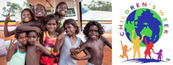 group of Aboriginal children & Children's Week logo vector world with 4 children