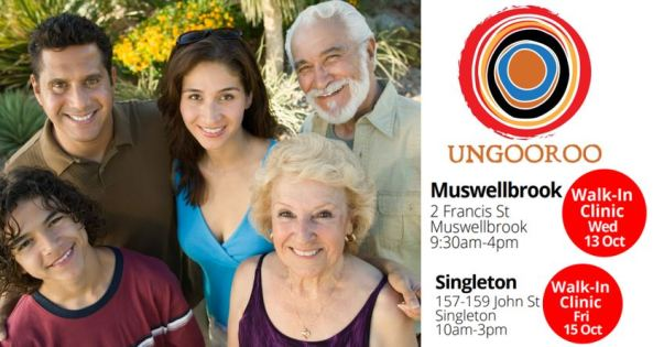 tile Ungooroo walk-in clinics Muswellbrook & Singleton, group of 5 Aboriginal people, various ages