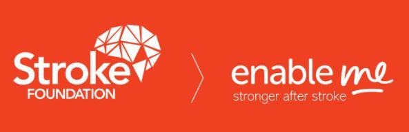 banner orange with white font, Stroke Foundation logo & enable me stronger after stroke'