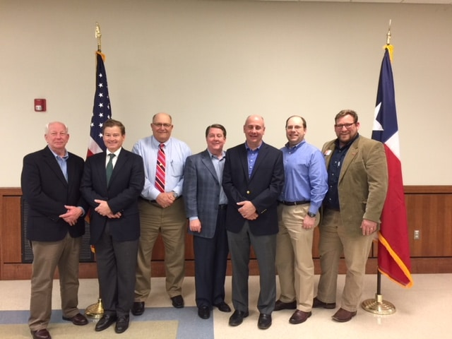 Pictured from left to right: Robin Dawley, County Commissioner, Pct. 3; John Fleming, County Attorney; Greg Sowell, County Judge; Bradley Reynolds, Chairman Nacogdoches County Republican Party; Keven Ellis, State Board of Education, District 9; Ed Klein, District Judge; Andrew Shipp, Vice-Chairman Nacogdoches County Republican Party.