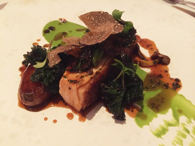 Roasted Breast of Guinea Fowl with Fondant Potato, Purple Sprout Broccoli and Lemon Thyme Jus