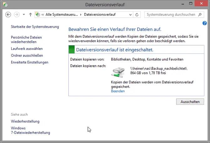 Windows 7 Dateiversionsverlauf