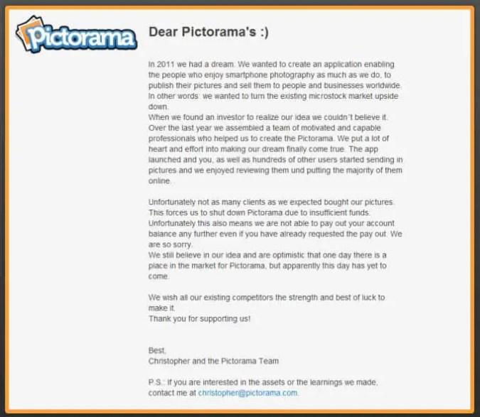 Pictorama Mitteilung