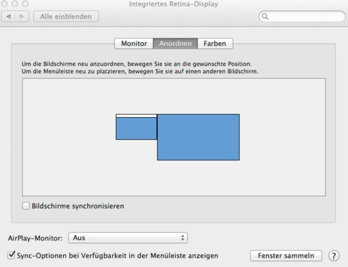 Multimonitor Betrieb in Mavericks