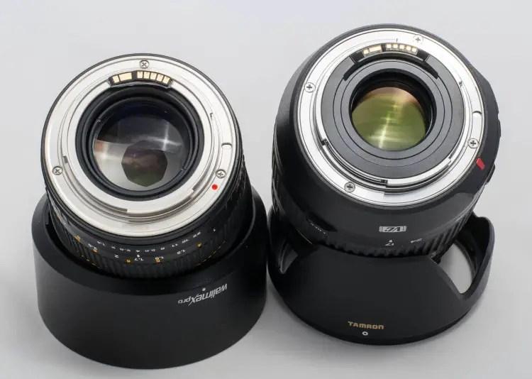 Walimex mit Chip (links) und Tamron SP AF 17-50mm 2,8 Di II VC (rechts)