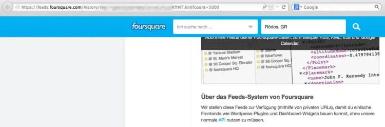 Foursquare KML-Export