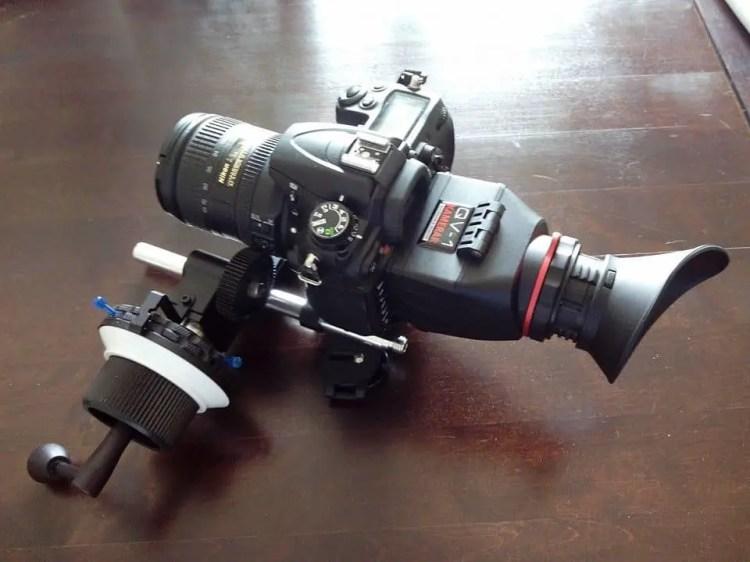 Kamerar Displaylupe mit Baseplate und Follow Focus