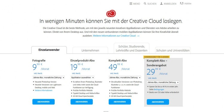 Creative Cloud Abo Angebote