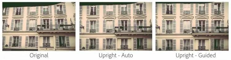 Unterschiede zwischen dem automatischen und dem neuen Upgright Tool mit Hilfslinien (Foto: Adobe)