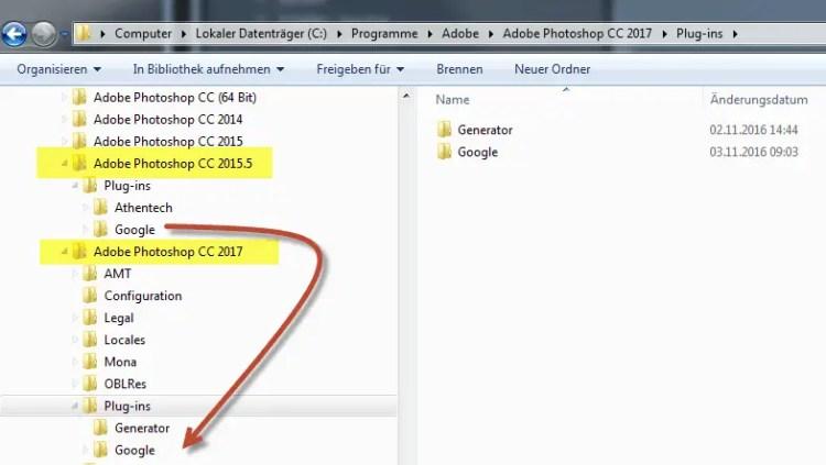 Einfach den Inhalt des Plug-Ins Verzeichnis in das neue Verzeichnis von Photoshop CC2017 kopieren