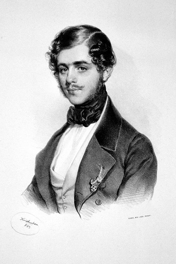 Litografija Josef Kriehuber, Фото: Peter Geymayer - Кнез Михаило у младости (1843)