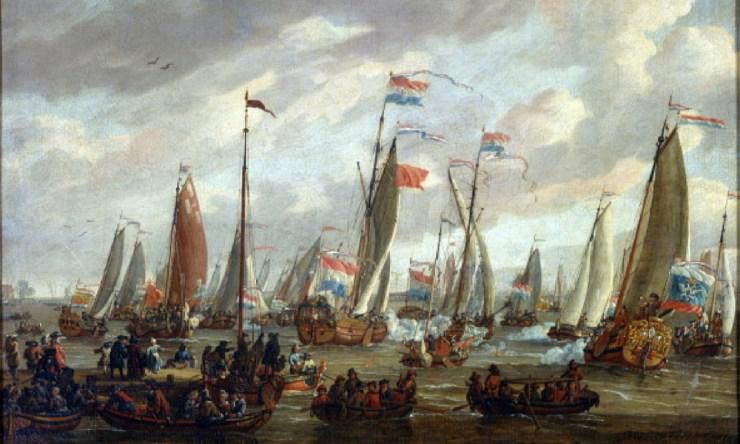 Flota de Pedro I el Grande arribando a Inglaterra