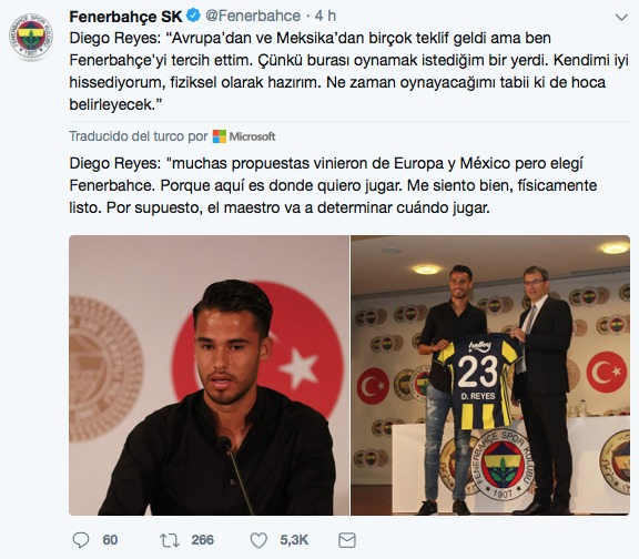 Reyes fue presentado con el Fenerbahce