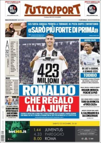 El regalo de navidad para CR7 ha llegado antes de coronarse campeón de invierno con la Juve en el futbol italiano. (Tuttosport)