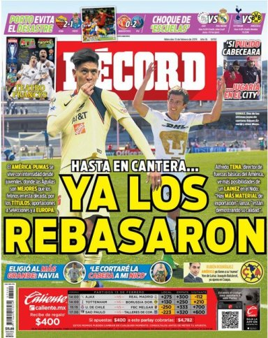 El América parece haber ya rebasado a Pumas en la exportación de futbolistas mexicanos. (Récord)