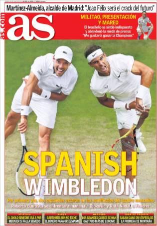 Por primera vez en Wimbledon, dos tenistas españoles estarán disputando las semifinales, Roberto Bautista enfrentará a Djokovic y Nadal se vera las caras con Federer. (As)
