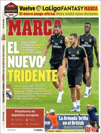 Zinedine Zidane parece tener listo a su tridente en el ataque con jugadores como Eden Hazar, Vinicius Jr. y Karim Benzema. (Marca)